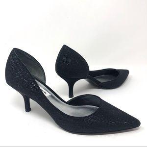 Nina New York Black Shimmer D'Orsay Heels Size 6.5